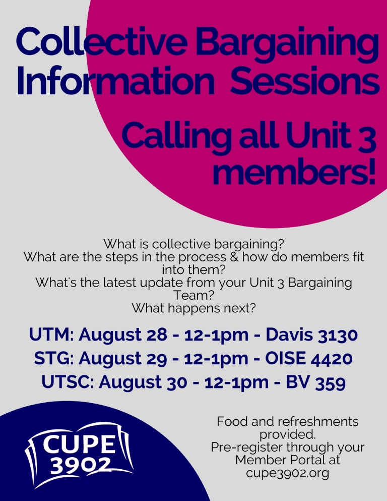 Unit 3 August Bargaining Info Sessions